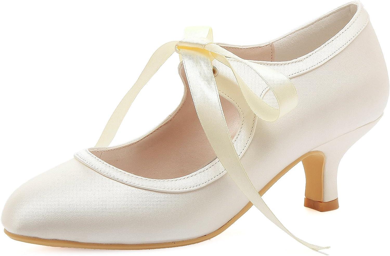 ElegantPark A3039-2 Women Round Toe Mary-Janes Mid Heel Satin Lace Ribbon Tie Wedding Bridal shoes