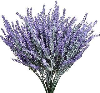 8 Bundles Artificial Flowers fake Lavender Plant Artificial Lavender Bouquet Faux Flocked Plastic Flowers Wedding Bridle B...