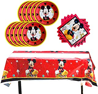 Red Mickey Mouse Birthday Party Supplies,Includes 20 Paper Plates - 20 Napkin - 1 Table Cloth Serves 20 Guest