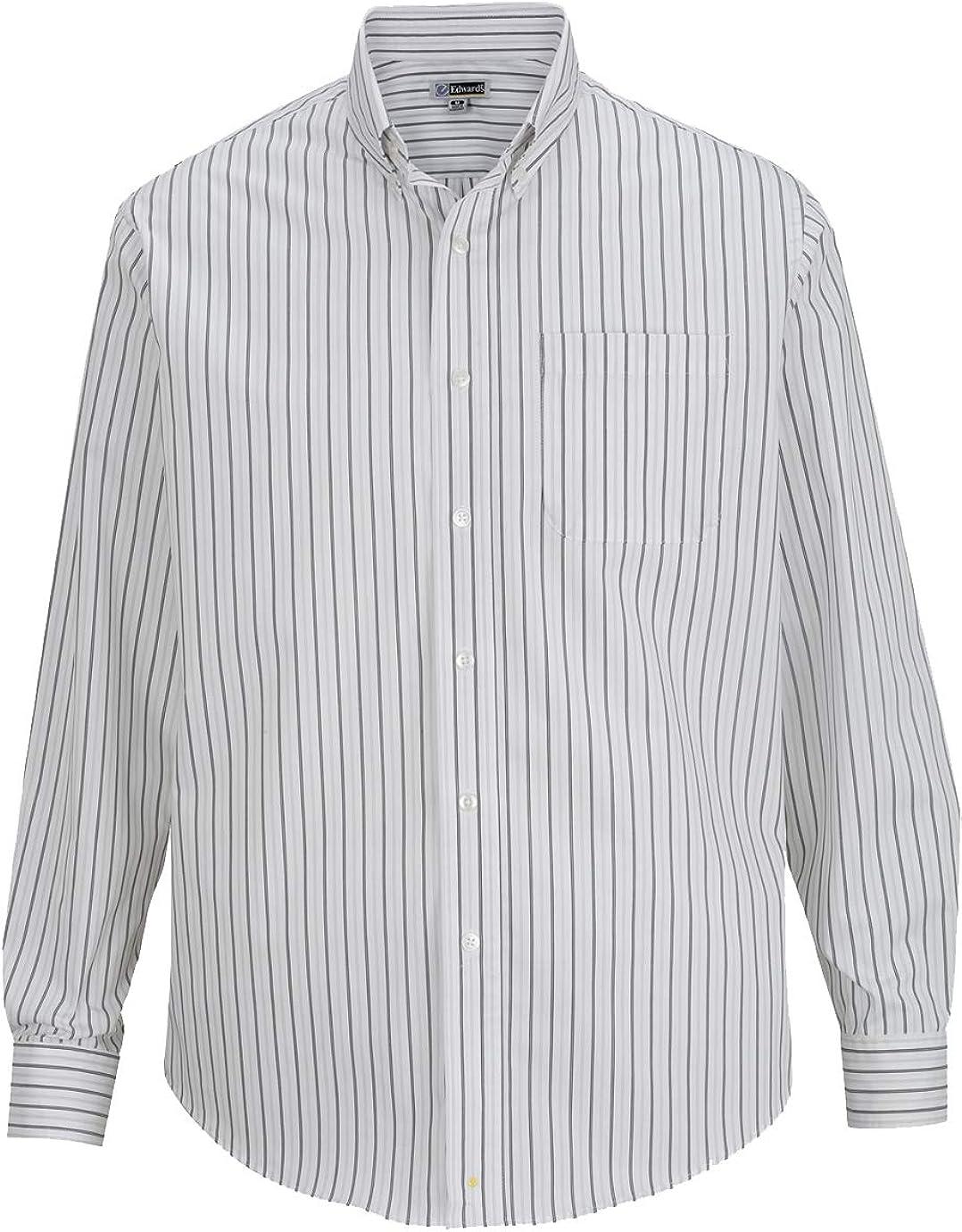 Edwards Men's Double Stipe Poplin Long Sleeve Dress Shirt