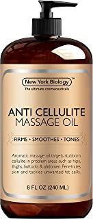 New York Biology Anti Cellulite Treatment Massage Oil - All Natural Ingredients - Penetrates Skin 6X Deeper Than Cellulite Cream - Targets Unwanted Fat Tissues & Improves Skin Firmness - 8 oz