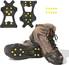 Carryown Ice Grips, Traction Cleats, Ice Cleats Snow Grips, Snow Cleats, Crampons for Men and Women+Extra Replacement Studs (S, M, L, XL)