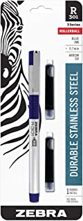 Zebra R-301 Stainless Steel Rollerball Pen with Bonus Refill, Fine Point, 0.7mm, Blue Ink, 1-Count