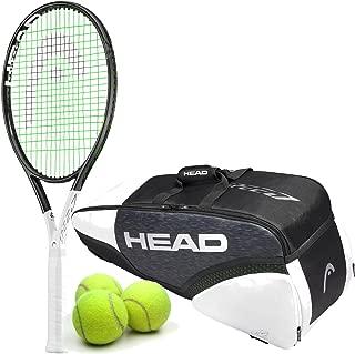 HEAD Graphene 360 Speed Lite Midplus 16x19 Black/White Tennis Racquet Starter Set or Kit Bundled with a Djokovic Tennis Bag and (1) Can of Tennis Balls (Light Powerful Racket)
