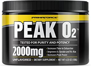 PrimaForce Peak O2 Powder Supplement, 120 Grams – Improves O2 Uptake & VO2 Max / Increases Time to Exhaustion / Enhances P...