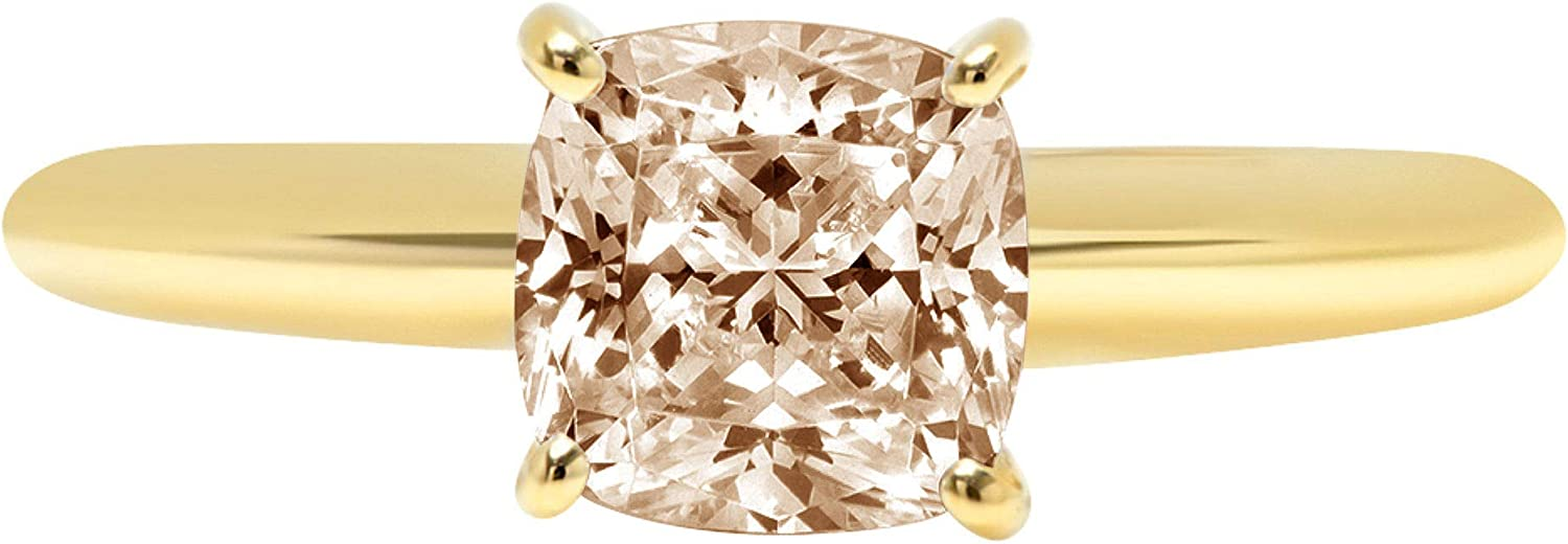1.50 ct Brilliant Cushion Cut Solitaire Brown Champagne Simulated Diamond CZ Ideal VVS1 D 4-Prong Engagement Wedding Bridal Promise Anniversary Ring Solid Real 14k Yellow Gold for Women