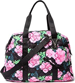 Betsey Johnson Nylon Quilted Black Floral Zip Heart Pocket Charm Detail Weekender Travel Bag