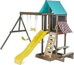 KidKraft Newport Wooden Outdoor Playset with Swings, Slide, & Vinyl Chalkboard