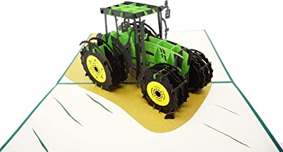 WOWPAPERART Tractor - 3D Pop Up Greeting Card for All Occasions Birthday, Love, Congrats, Good Luck, Anniversary, Get Well, Good Bye, Retirement, Thank You, Travel - Premium, Handcrafted (Tractor)
