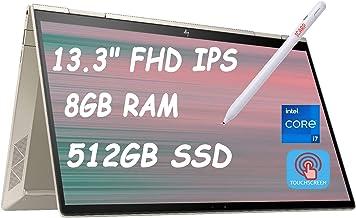 "2021 Flagship HP Envy X360 2-in-1 Laptop 13.3"" FHD IPS Touchscreen 11th Gen Intel Quad-Core i7-1165G7 8GB RAM 512GB SSD Fingerprint Backlit KB USB-C Thunderbolt WiFi B&O Win 10 + iCarp Pen"