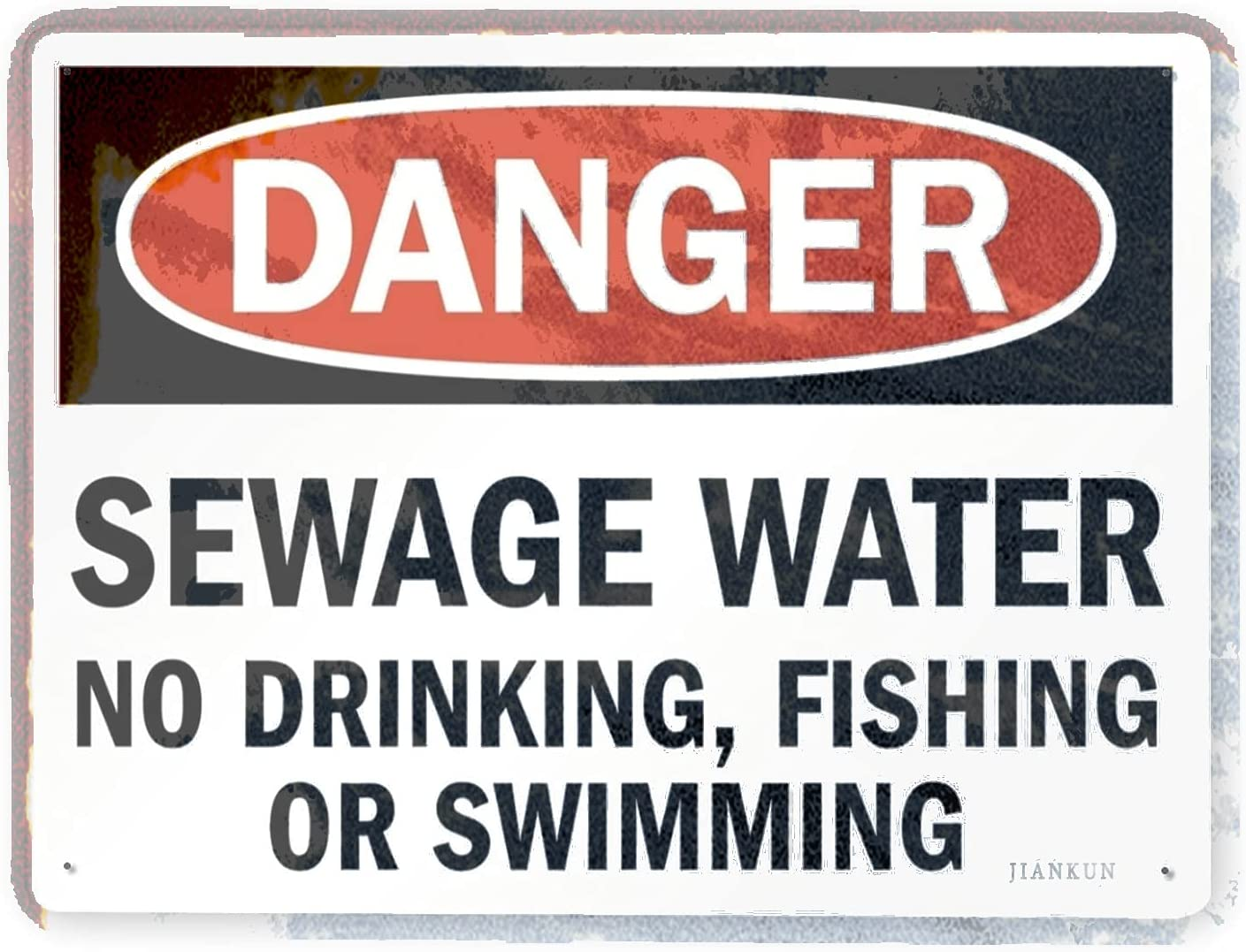 J.DXHYA Excellence Wholesale Man Cave Decor 2 Pieces Water Sewage Warning Danger Sign