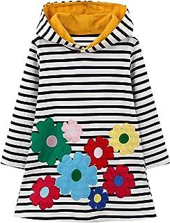 Baogaier Fille Sweats à Capuche Enfant Robe Fleur Animal Rayée Arc-en-Ciel Sweatshirt Pull à Capuche Manche Longue Coton S...