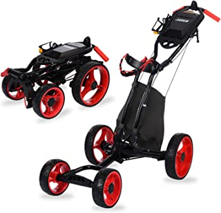 JANUS Golf Push Cart, Golf cart for Golf Clubs, Golf Pull cart for Golf Bag, Golf Push carts 4 Wheel Folding, Golf Accesso...