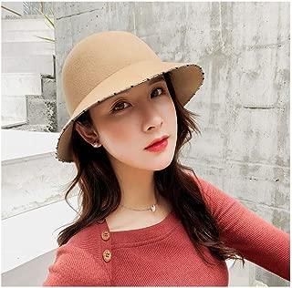 LiWen Zheng 2018 New Bucket Women Fedoras Handmade Rhinestone Metal Surround Brim Wool Felt Hat Dome Autumn Winter Hats