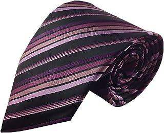 Kailong Men's Tie Black with Multi Purple and Pink Stripe Silk Necktie