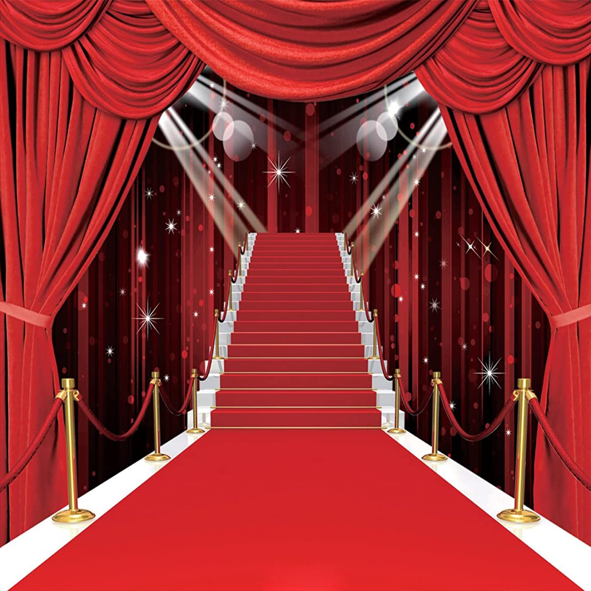 10x10ft Vinyl Photography Backdrop Stage Lighting Red Carpet Background for Wedding Customized Photo Studio Props RM-032
