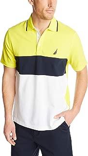 Men's Short Sleeve 100% Cotton Pique Color Block Polo Shirt