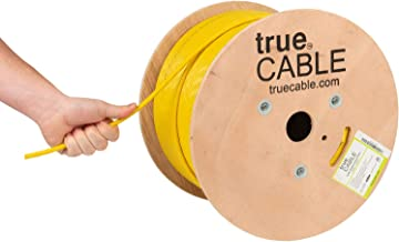 Cat6A Riser (CMR), 1000ft, Yellow, 23AWG 4 Pair Solid Bare Copper, 750MHz, ETL Listed, Unshielded Twisted Pair (UTP), Bulk Ethernet Cable, trueCABLE
