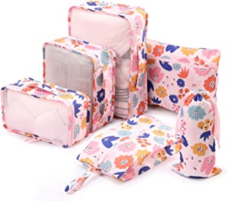 6 Set Packing Cubes-Travel Luggage Organizers with, Pink Flower, Size No Size
