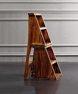 ZENGAI Escalera Madera Sillas escalera multifunción Nórdico Creative cuatro capas Plegable Multilayer Silla de madera maciza Escaleras escaleras taburete escalera Biblioteca#