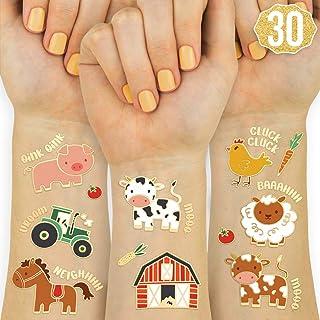 xo, Fetti Farm Party Supplies Temporary Tattoos - 30 Glitter Styles | Barnyard Animals, Petting Zoo, Cow, Horse, Tractor T...