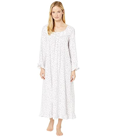 Eileen West Cotton Peached Jersey Knit Long Sleeve Ballet Nightgown (White Ground/Multi Berries) Women