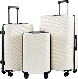 Luggage 3 Piece Sets PC+ABS Spinner Suitcase carry on Fashion (White, One_Size)