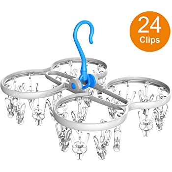 ARVO Plastic Hanger Foldable, Clothes Dryer with 360 Degrees Rotating Hook and 24 Clip
