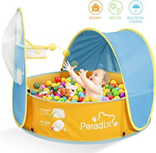 Peradix Paddling Pool for Kids & Pets, Kids Ball Pit Tent, Pop Up Wading Pool Tent with UV Protection Sunshade Canopy Basketball Hoop, Portable Beach Backyard Toys for Indoor Outdoor Activity(Blue)