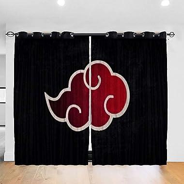 ESCFLAG Naruto Akatsuki Rideaux exquis et élégants 132 x 182,9 cm (2 panneaux) Convient à tous les types de pièces Décoration