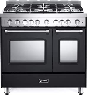 Verona Prestige Series VPFSGG365DE 36 inch. All Gas Range 5 Sealed Burners Double Oven Convection Storage Drawer Matte Black