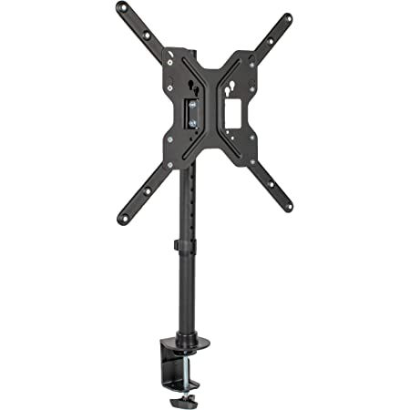 VIVO Black Ultra Wide Screen TV Desk Mount for up to 55 inch Screens, Full Motion Height Adjustable Single Television Stand, STAND-V155C