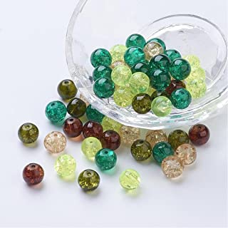 AMZ Beads - 4mm Mixed Assorted Colors Crackle Czech Glass Beads - Pack of 400 beads (Forest Green Mix)
