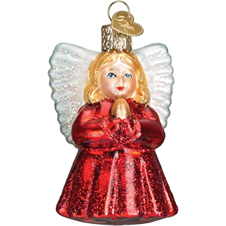 Angel Ornament Plastic Painted Faux Stained Glass Sun Catcher Trumpet Handmade Vintage Distressed Old World Christmas Tree Holiday Decor