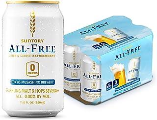 Suntory ALL-FREE, pack of 6, Sparkling Malt & Hops Beverage, 0.00% Alc. and 0 Calories (11.8 Fl Oz)