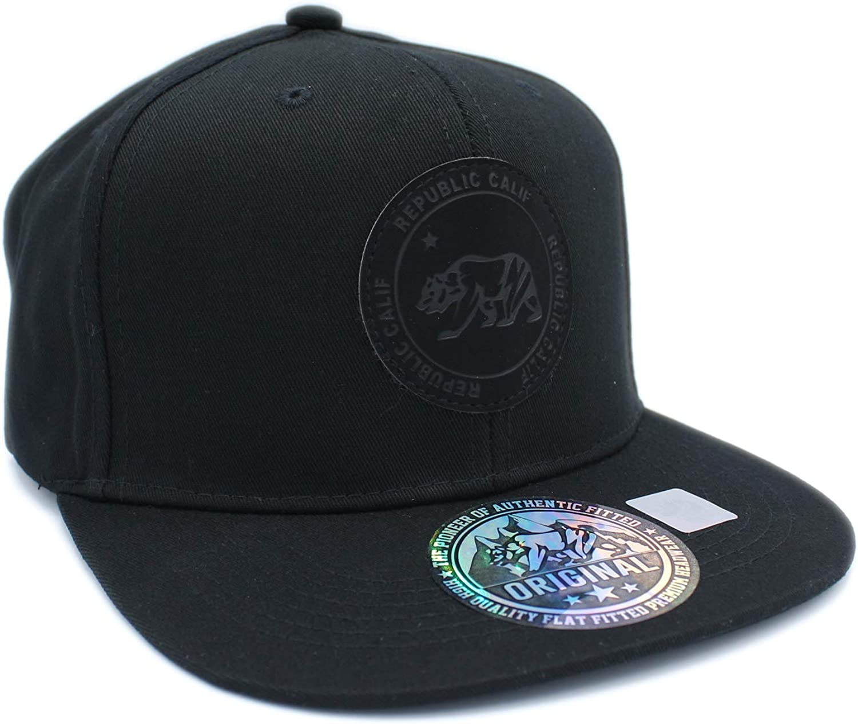CALI Bear on Round Leather Patch Snapback Cap, California Republic hat