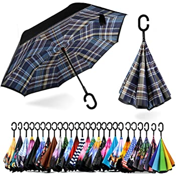 Double Layer Inverted Inverted Umbrella Is Light And Sturdy Retro Starburst Sunburst Pattern Reverse Umbrella And Windproof Umbrella Edge Night Refle