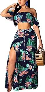 Womens Boho Floral Maxi Dress - Off Shoulder Crop Top Sexy Split Skirt Sets