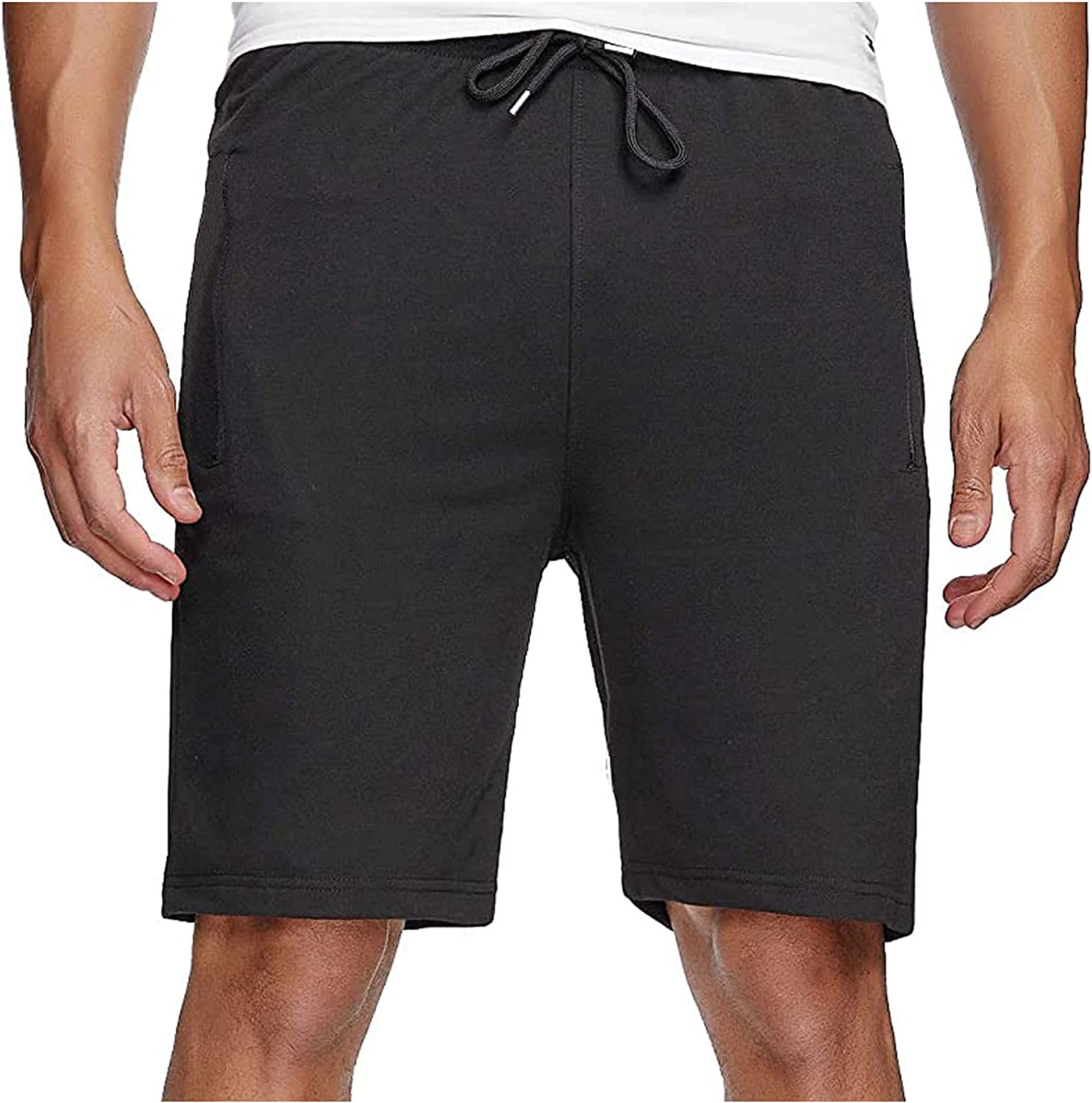 ZCAITIANYA Men's Casual Shorts Solid Color Slim Fit Cotton Summer Beach with Elastic Waist and Pockets