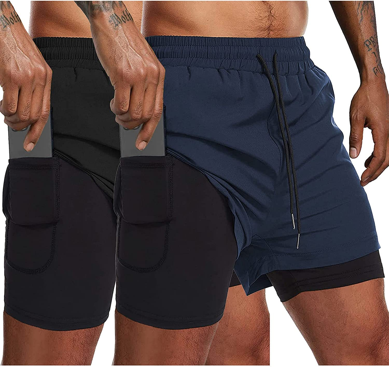 COOFANDY Men's Max 43% OFF Workout Shorts Quick Dry 2 1 Bodybuilding Gym in Max 48% OFF