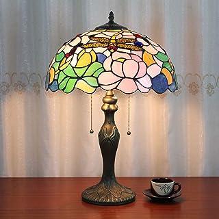16 Pulgadas Libélula Lotus Pastoral Antique Luxury Tiffany Style Lámpara de Mesa Hecha A Mano de Cristal Lámpara de Mesa de Noche