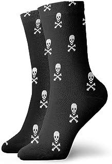 tyui7, Calcetines de compresión antideslizantes calavera en blanco y negro Cosy Athletic 30cm Crew Calcetines para hombres, mujeres, niños