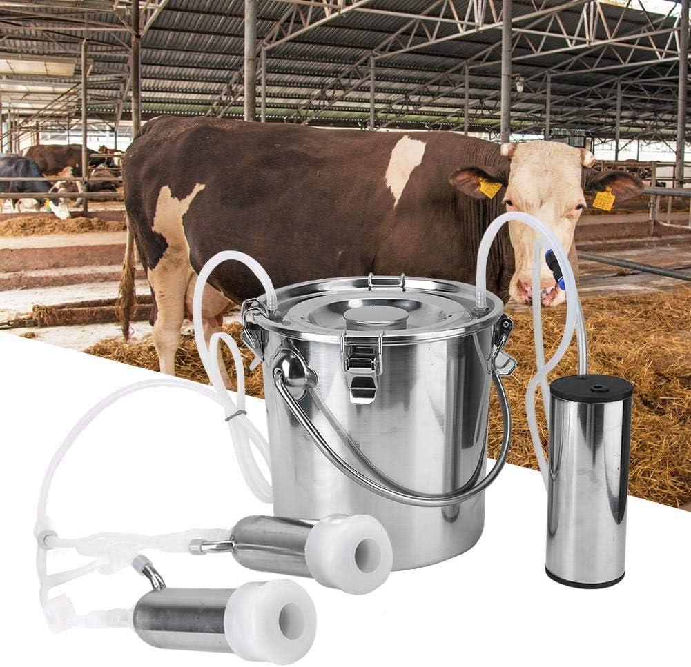 Haushalts Elektrische Schaf Ziege Kuh Melkmaschine Minitype Tragbare Edelstahl Doppelkopf Melker Sheens 5L Elektrische Melkmaschine Kit