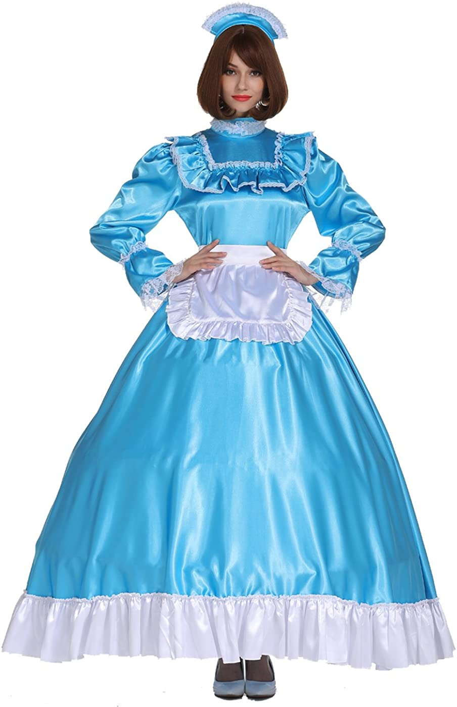 Minneapolis Mall GOceBaby Sissy Girl Maid Lockable Cheap mail order shopping Turquoise Long Blue Satin Dres