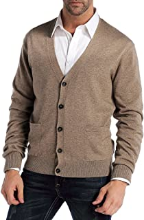 Kallspin Men's Relax Fit V-Neck Cardigan Cashmere Wool Blend Button with Pockets