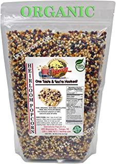 5 lb - Multi-colored - Raw Organic Heirloom Popcorn Kernels - Low Calorie High Fiber Snack Perfect For Movie Night - Made In The USA - All Natural, Vegan, Non GMO, Gluten Free