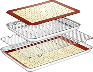 Baking Sheet with Baking Rack Mat Set (2 Sheets + 2 Mats + 2 Rack) - Estmoon Pure Stainless Steel baking Pan Tray Cooling Rack with Cookie Mat, Non Toxic & Easy Clean, Mirror Finish & Rust Free