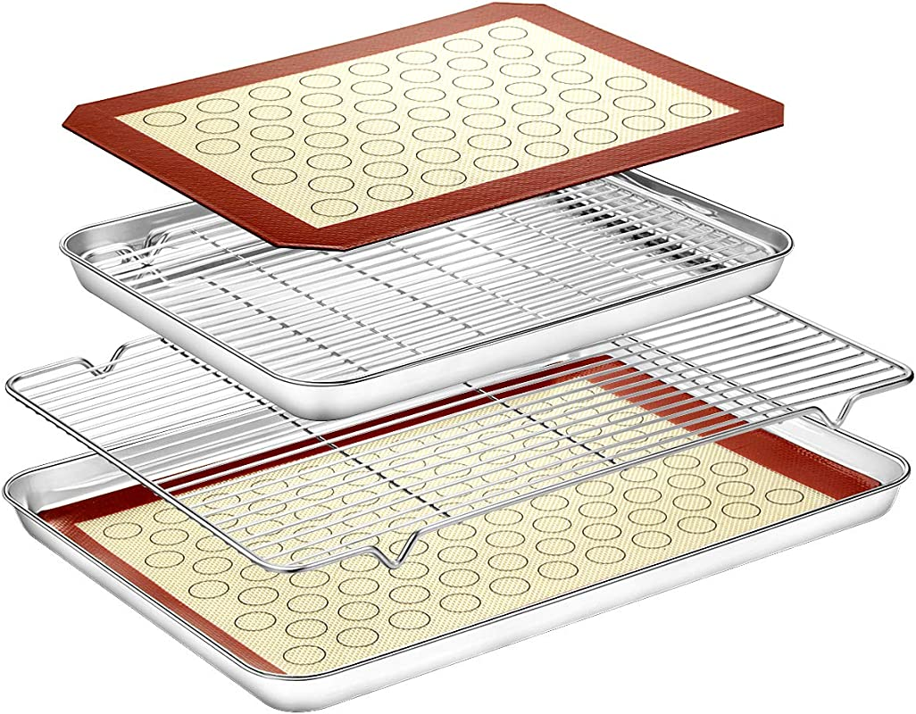 Baking Sheet With Baking Rack Mat Set 2 Sheets 2 Mats 2 Rack Estmoon Pure Stainless Steel Baking Pan Tray Cooling Rack With Cookie Mat Non Toxic Easy Clean Mirror Finish Rust Free