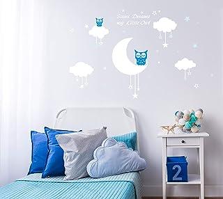 AIYANG Blanc mur autocollants Lune étoiles nuages Stickers Sweet Dreams Stickers muraux Garçon filles Bébé chambre de déco...