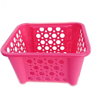 Storage Baskets for Shelf Book Bins for Classroom Pink,1 Plastic Basket for Organizing Pantry Organization Bins for Cube Organizer Shelves Kitchen Countertop, Fruit, Toy, Lego Blocks Art Craft